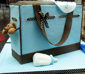 Cute Blue and Brown Diaper Bag Cake with Teddy Bear and Bottle for a Boy
