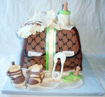 fun green and brown boys diaper bag cake