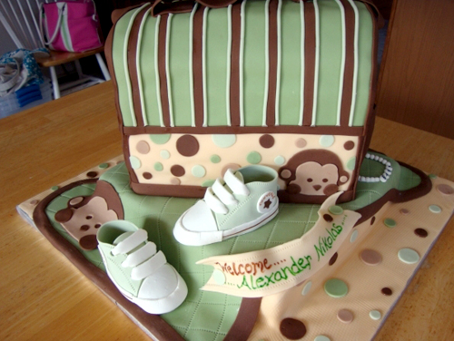 Modern Monkey Themed Baby Shower Cake For A Boy Artisan Cake Company