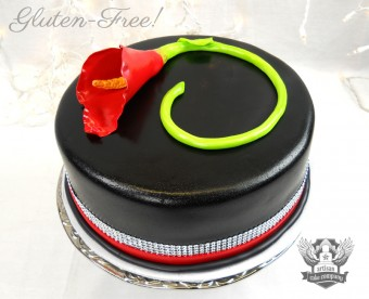 gluten free twilight cake with red calla lily and bling