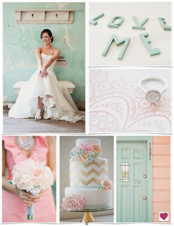 shabby chic mint and gold wedding ideas