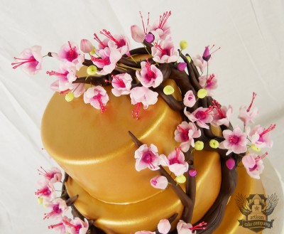 Cherry Blossom and Gold Baby Shower Cake