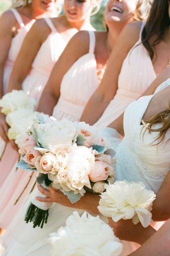 shabby chic bouquets and wedding party dresses