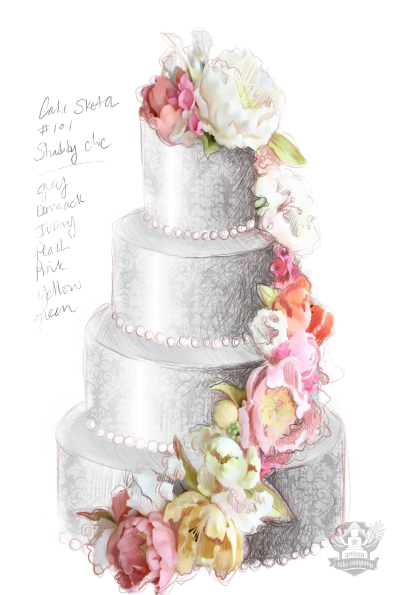 Shabby chic wedding cake sketch