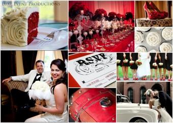 Elegant red and black bling wedding inspiration board
