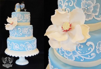blue birds and ivory wedding cake