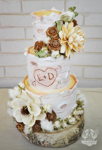 rustic birch log wedding cake