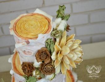 rustic birch log wedding cake