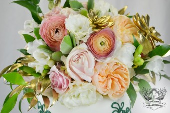 emerald gold and light pink floral cake topper
