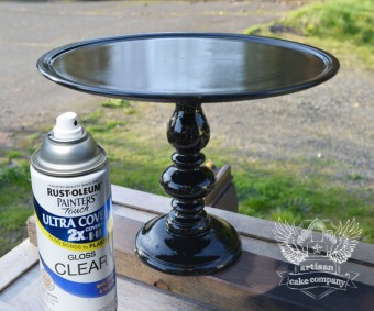 DIY cake stand clear coat