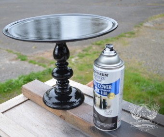 DIY cake stand second coat of paint