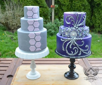 DIY cake stands using candlesticks and microwave plates