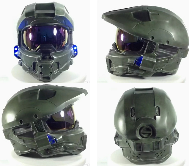 Halo Master Chief helmet cake with glowing LED lights