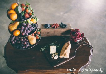 cheese platter and fresh fruit