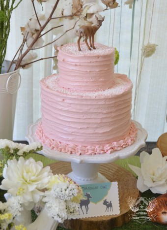 pink woodland baby shower cake