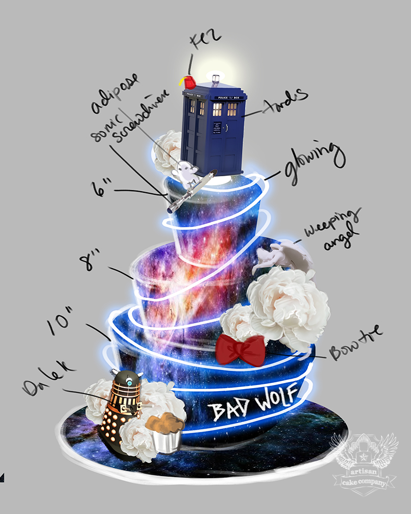 Birthday Cake Design For Doctor : Doctor Who Themed Wedding Cake Artisan Cake Company