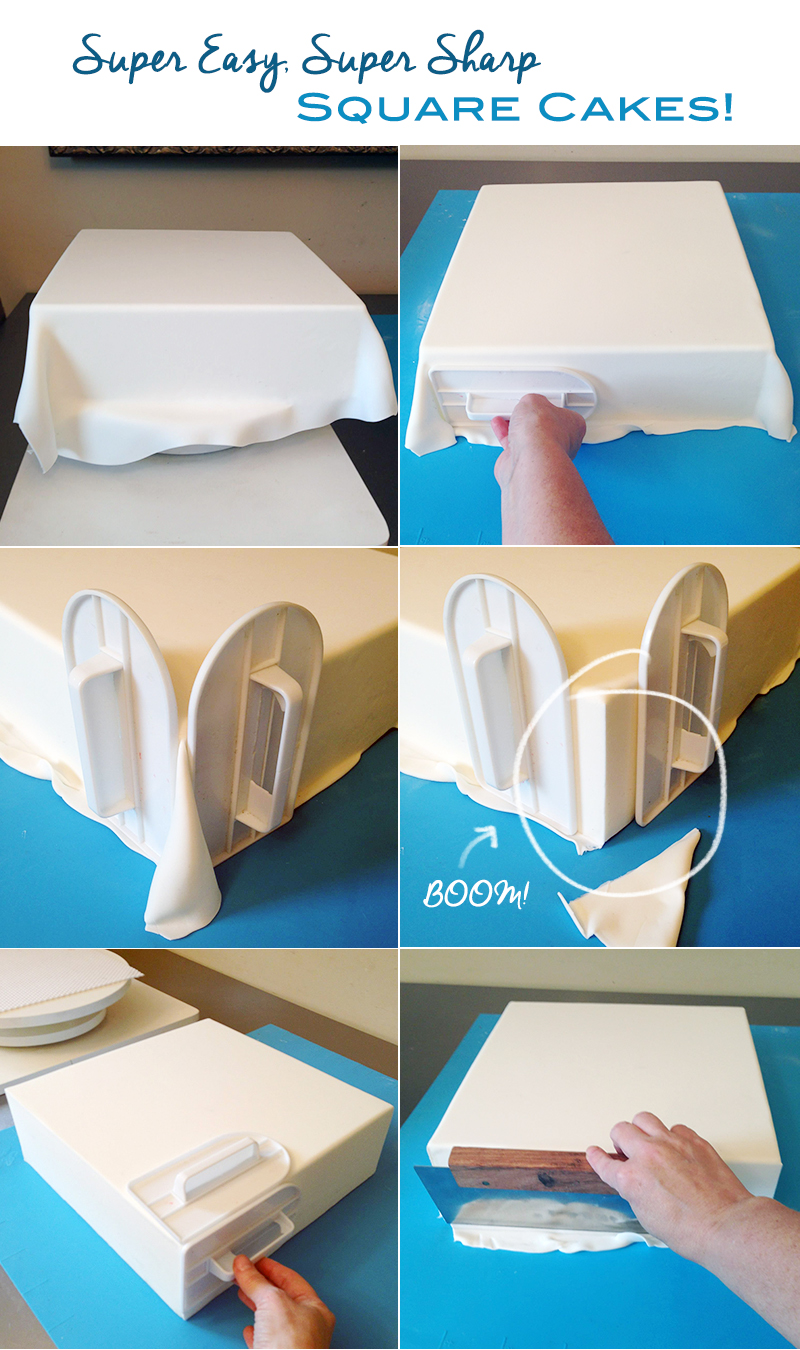 Cake Decorating How To Make Fondant : How to get sharp corners on square cakes Artisan Cake ...
