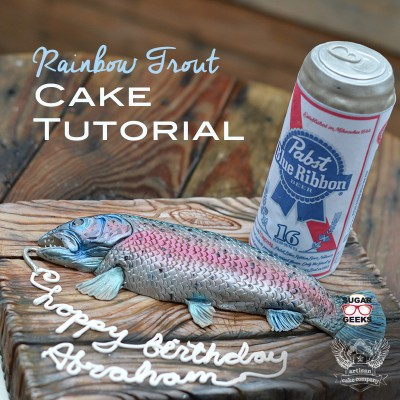 Rainbow Trout Fishing Cake with Beer Can