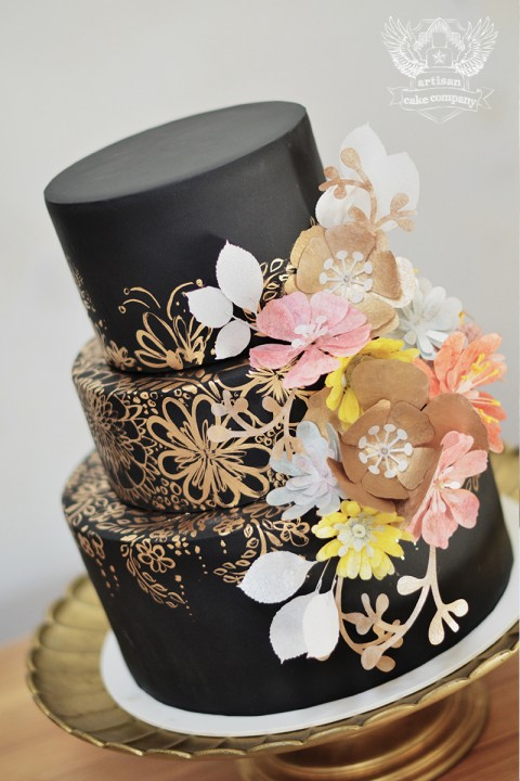 Gold And Black Wedding Cakes - Wedding Cake Flavors